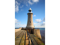 Tynemouth Pier with Fishermen Canvas Print Picture Newcastle Upon Tyne
