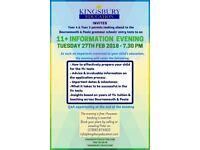 Free 11+ Information Evening for Parents - B'mouth & Poole - Tues 27th February