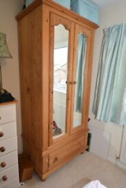 Large Pine Wardrobe With Base Draw Unit and Mirrored Doors