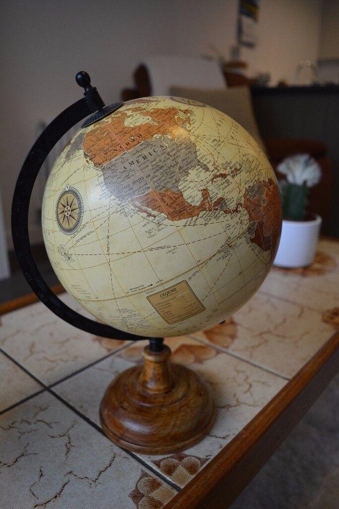 World Globe Cream Ocean with Brown Map