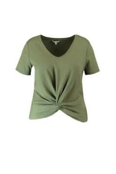 MS Mode Dames T-shirt met knoopdetail Groen