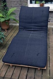 Dark navy solid wood futon