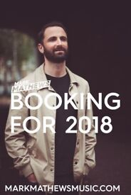 Singer-Songwriter booking gigs for 2018
