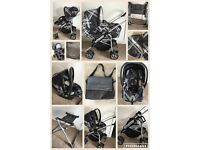 Mamas and papas ultima 9 in 1 Pram travel system black grey couture rrp over £1000 car seat cot