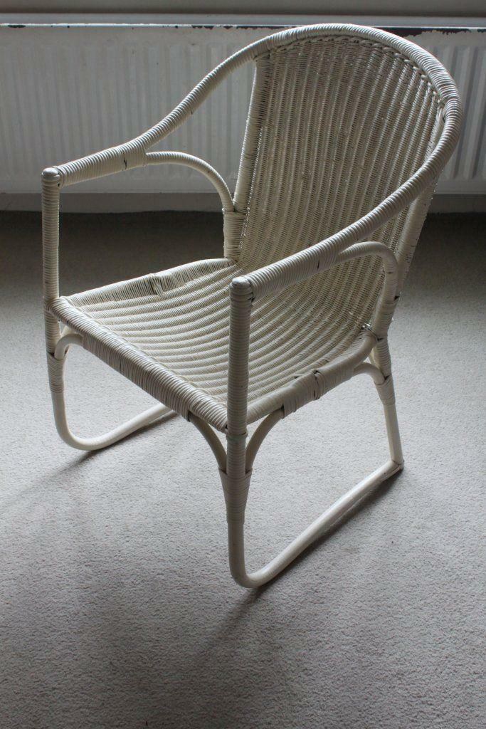 White Painted Wicker Chair In York North Yorkshire