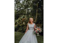 Ivory A-line wedding dress embellished waist lace back floor length size 12 dry cleaned