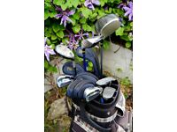 Full set of quality RH women's golf clubs, with covers, bag, trolley