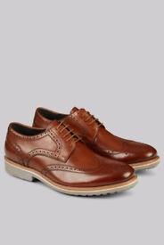 John White Mens Tan Shoes Belton Brogues Leather Lace up Smart UK 9