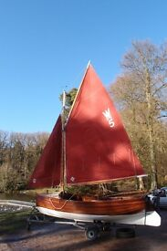 Classic Wooden Sail Boat, Gaff Rig, Outboard, trailer, lovely condition, ready to sail, many extras