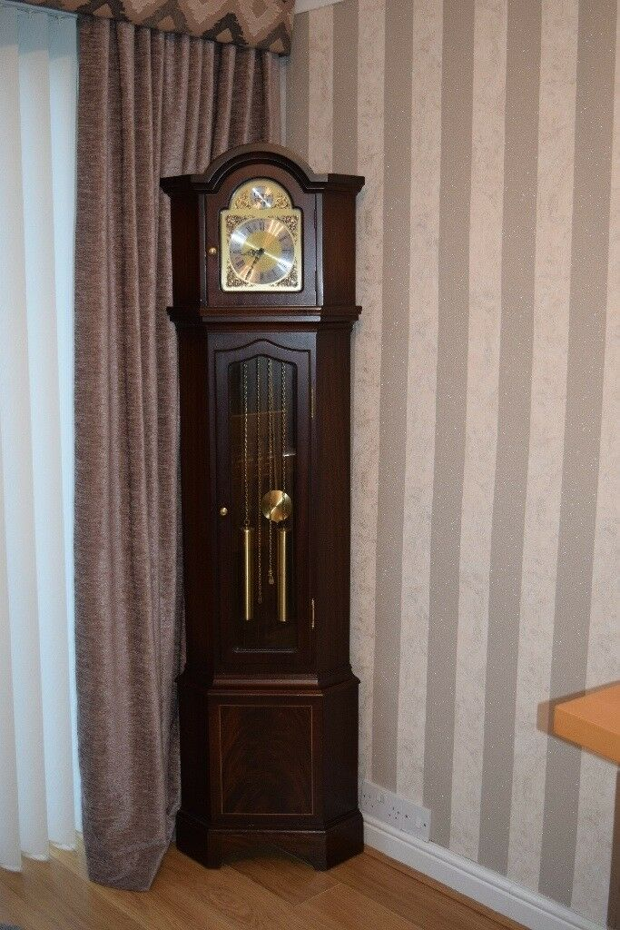 Tempus Fugit Corner Grandfather Clock Mahogany In