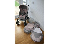 Silver Cross 3D Vogue Sugared Almonds (pink / grey) pram with car seat 3 in 1