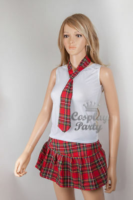 Sexy Student Girl School Uniform w/Red Plaid Skirt Costume for Cosplay Halloween - Halloween Costumes For Students