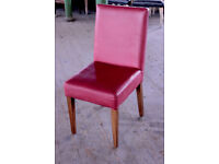 x 50 British made 100% Red Leather and Beechwood framed Restaurant/Dining chairs