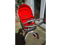 Stokke Xplory V3 in Red. In excellent condition bar minor wear and tear. New back wheel bought 2014