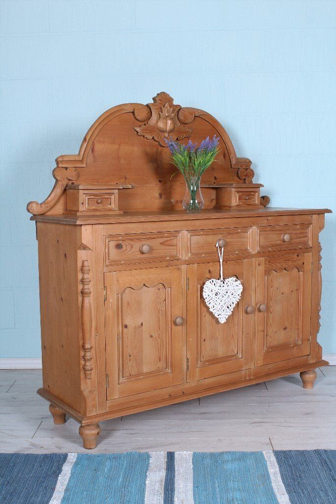 DELIVERY OPTIONS - BEAUTIFUL SOLID PINE SIDEBOARD LOTS OF CARVINGS TOP QUALITY