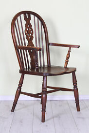 ANTIQUE GRANDFATHER WHEELBACK CHAIR SOLID OAK - CAN DELIVER