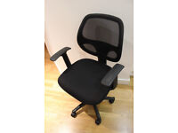 Office chair - black, wheels, height adjustable, good condition