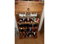 MEXICAN SOLID PINE WINE RACK WITH TOP DRAWER