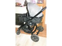 Red Kite Push Me Fusion Travel System Pram/Pushchair & Rain Cover - USED FOR 3 MONTHS