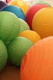 Bright Rainbow Coloured Paper Lanterns