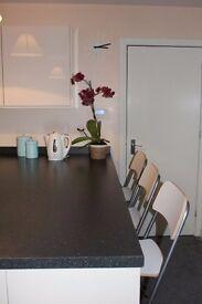 3 Ikea Franklin bar stools with backrest, foldable