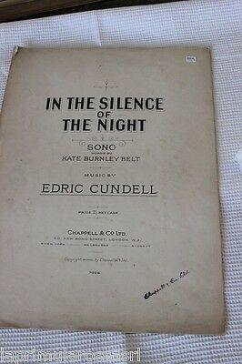"""SPARTITO MUSICALE ANTICO """" IN THE SILENCE OF THE NIGHT"""" PER PIANOFORTE E VOCE"""