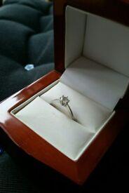 0.60 Carat Diamond Solitaire Engagement Ring 18k White Gold.
