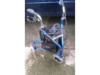 Three Wheeled Mobility Walker With Brakes and Bag