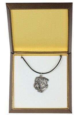 Spanish Mastiff - silver covered necklace with dog, in box, Art Dog USA
