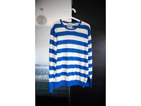 Scotch & Soda Mens Sweatshirt Crew Neck Long Sleeve Striped BLUE Size L LARGE