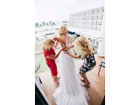 Used White Beach Wedding dress with long trail and side split UK size 14, EUR 40/42
