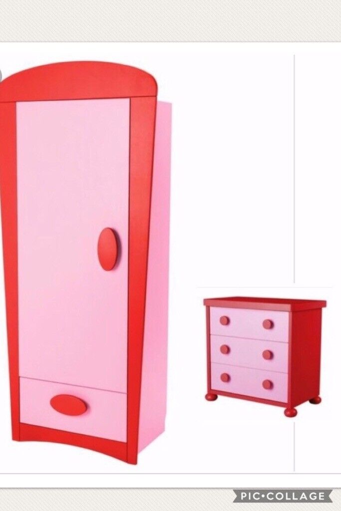 Ikea girls bedroom furniture pink/red