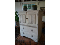 Shabby chic solid oak vintage cupboard with 2 generous drawers