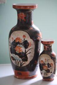 2 vases oriental in gold and orange