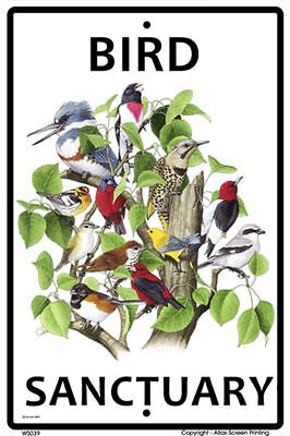 Bird Sanctuary Sign NEW 10 x 15 Kingfisher Flicker Thrush Warbler Vireo  Towhee