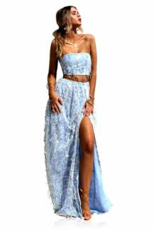 renting: Sisters the Label Two Piece Vienna Sky Embellished Gown
