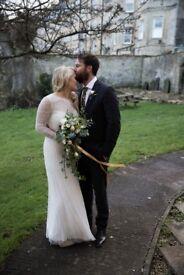 Unique embellished designer wedding dress size 8-10