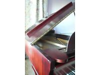 Ascherberg Perzina baby grand piano, padded cover and piano stool