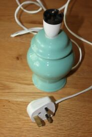 TABLE LAMP PALE GREEN CERAMIC H 17cm x W 10cm approx c/w plug. Very nice condition
