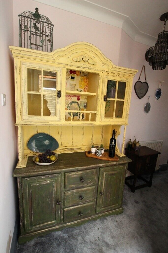 Up Cycled Wood Kitchen Dining Room Dresser Statement Piece Top Cabinet Not Fixed To Base