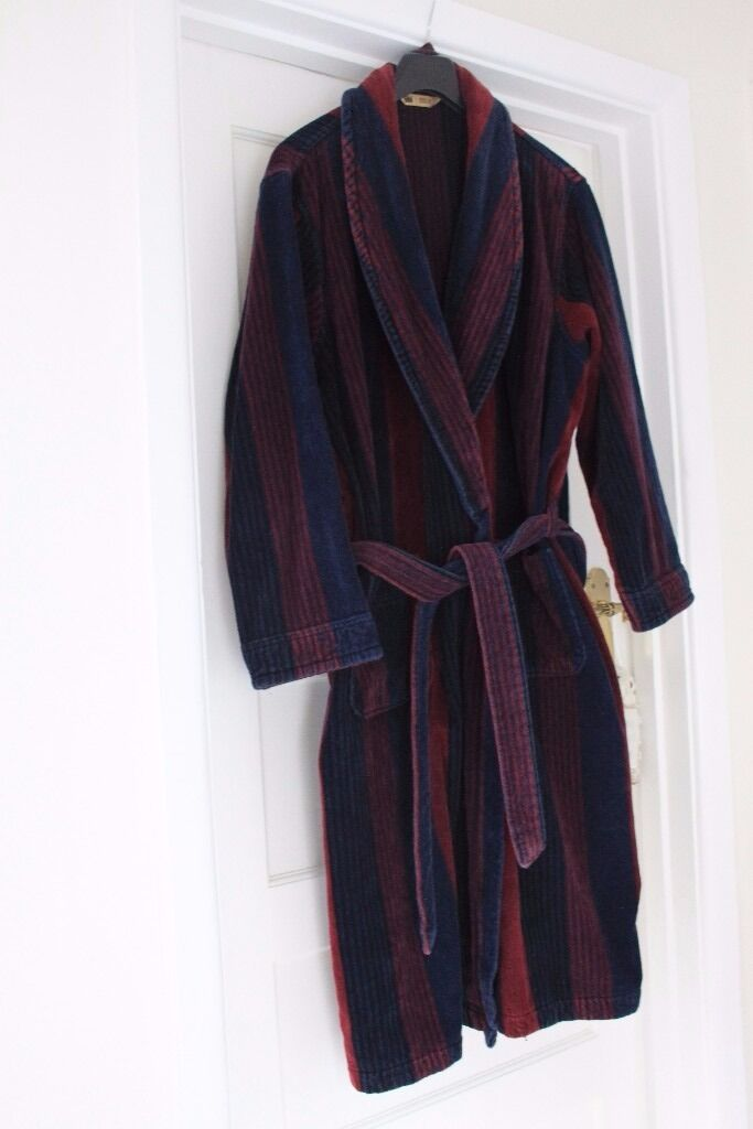 Men\'s M&S XLarge Navy/Red Striped Towelling Robe/Dressing Gown | in ...
