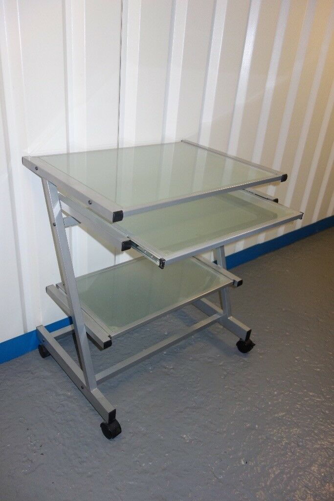 Aluminium Framed Computer Desk With Frosted Glass Top Surface Keyboard Tray