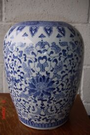large Porcelain, glazed Ginger jar, no lid. Can be used as vase or just display. Exc condition.