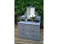 Edwardian Vintage Six Drawer Dressing Table slate grey and antique white