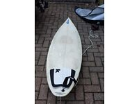 "Surfboard used but in good condition. Total length 77"" width 19 3/4"""" depth 2 5/16"""