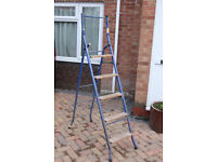 """Steel step ladder (top step 118 cm, 47 3/4 inches high) folds out to form a 285cm, 9' 4"""" long ladder"""