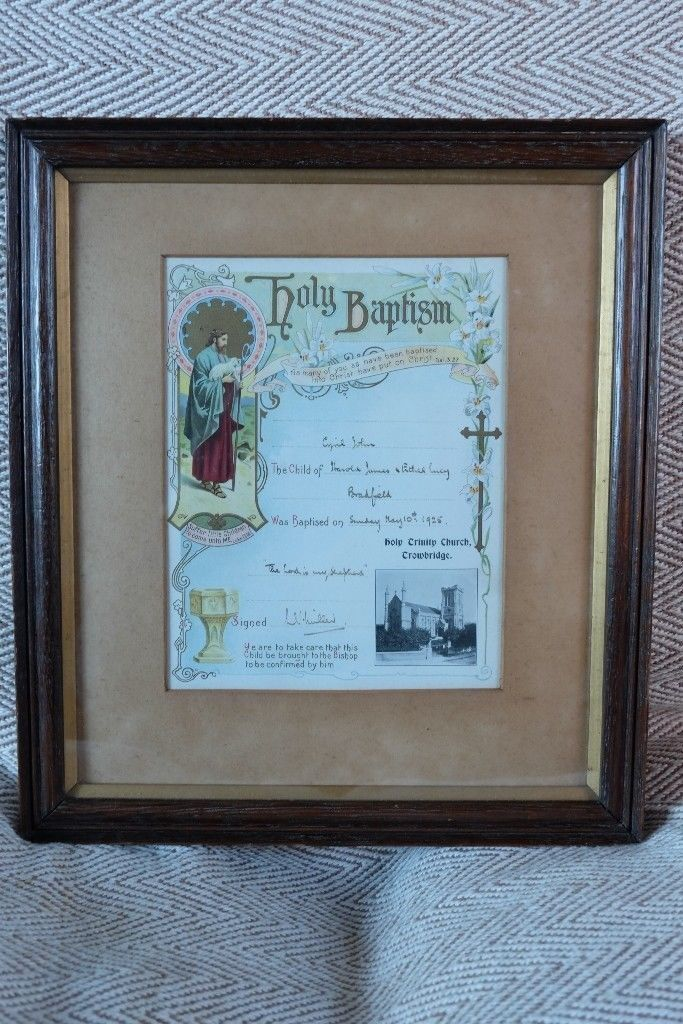 antique baptism certificate in classic edwardian oak frame with gilt
