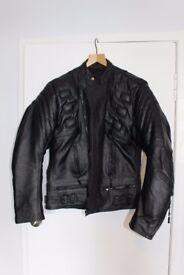New- Men's Black Leather Motor Cycle Jacket (XL)
