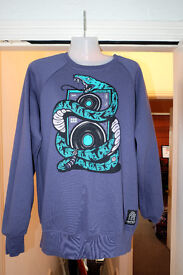 Dephect jumper, blue with snake and record deck design, size medium