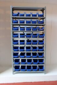 Steel Shelving Unit with 45 Parts Storage Bins